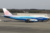 B-18210 @ RJAA - China Airlines B747 wears Boeing House colours