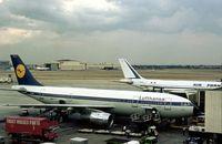 D-AIAA @ LHR - Airbus Garmish-Partenkirchen of Lufthansa at Terminal 2 of London Heathrow in the Summer of 1976. - by Peter Nicholson