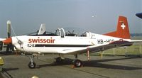 HB-HOO @ EGLF - Pilatus PC-7 Turbo Trainer at Farnborough International 1982