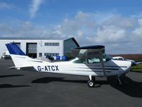 G-ATCX @ EGBT - Cessna 182 at Turweston - by Simon Palmer
