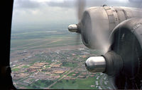 N3701G @ CNW - View from the starboard navigators window on the B-17 Chuckie on downwind for TSTC Waco Airport, 1987