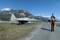 J-3077 @ LSMM - Just one soldier between the aircraft and the public road.