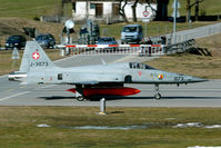J-3073 @ LSMM - The Swiss runway crossings are unique: the traffic waits at the barrier until all aircraft have landed.