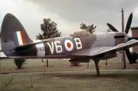 PK664 @ BINBROOK - Spitfire F.22 in markings of 615 Squadron as gate guardian at RAF Binbrook in the Spring of 1971. - by Peter Nicholson