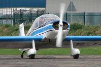 G-BJOT @ EGCF - Jodel D117 prepares for departure from Sandtoft