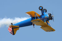 N49739 @ LFI - John Mohr in his 1943 Boeing A75N1 (PT17) Stearman N49739 waving to the crowd during an inverted flight pass at Air Power Over Hampton Roads 2009. - by Dean Heald