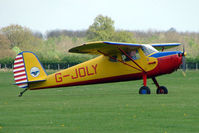 G-JOLY @ EGBK - 1947 Cessna 120 on the first day of the Luscombe and Cessna Historic Weekend Fly-in at Sywell UK