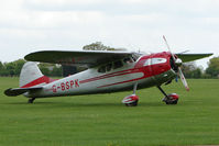 G-BSPK @ EGBK - 1951 Cessna 195A on the first day of the Luscombe and Cessna Historic Weekend Fly-in at Sywell UK