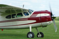 G-BTBJ @ EGBK - Close front view of 1952 Cessna 190 on the first day of the Luscombe and Cessna Historic Weekend Fly-in at Sywell UK