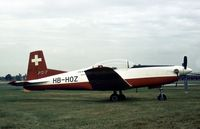 HB-HOZ @ FAB - Second prototype Pilatus PC-7 Turbo Trainer on display at the 1978 Farnborough Airshow. - by Peter Nicholson