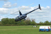 G-GDOV @ EGBD - Robinson R44 lifts and Departs from Derby Eggington