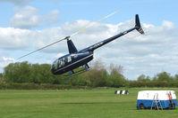 G-GDOV @ EGBD - Robinson R44 lifts and Departs from Derby Eggington
