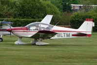 G-BLTM @ EGCB - 1976 Robin HR200/100 at City Airport Manchester (Barton) - by Terry Fletcher