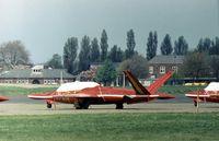 MT-21 @ BQH - Diables Rouge Magister of the Belgian Air Force's aerobatic display team at the 1977 Biggin Hill Air Fair. - by Peter Nicholson