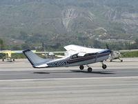 N8388Z @ SZP - 1963 Cessna 210-5 (205) UTILINE (fixed gear version of C210) Continental IO-470-E 260 Hp, landing Rwy 22 - by Doug Robertson