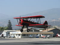 N59031 @ SZP - 1941 Boeing Stearman A75N1, Continental W670 220 Hp, another takeoff climb Rwy 22 - by Doug Robertson
