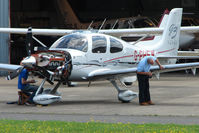 G-PHEW @ EGBJ - Cirrus SR22 receiving attention at Gloucestershire Airport