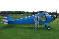 G-BPHP @ EGBD - 1941 Taylorcraft being re-built by his owner (pictured)