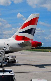 G-EUUM @ LOWW - Tail of British Airways Airbus A320 - by Hannes Tenkrat