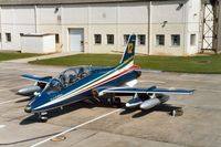 MM54484 @ EGVA - MB.339A of the Frecce Tricolori display team of the Italian Air Force at the 1991 Intnl Air Tattoo at RAF Fairford. - by Peter Nicholson