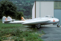 HB-RVC @ LSMS - Former Swiss AF J-1631 was sponsored by Authier in 1990. Seen in front of the Farner hangar at Sion.
