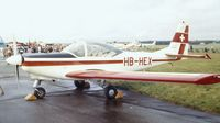 HB-HEX @ EGLF - FFA AS-202/18A Bravo at Farnborough International 1980