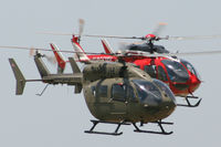 N145UH @ GPM - N145UH (Army Demonstrator/Trainer) and N455MH (Houston Air Ambulance) At American Eurocopter 40th Anniversary party - Grand Prairie, Texas
