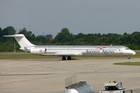 ZA-ASA @ EGSS - Albanian Airlines MD83 at Stansted