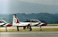 68-8131 @ RDG - Lead aircraft of the Thunderbirds aerobatic display team at the 1977 Reading Airshow. - by Peter Nicholson