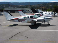 N119TW @ SQL - 1974 Beech 58 Baron with winglets from KSAC on transient ramp @ San Carlos Muni, CA - by Steve Nation