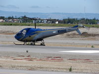 N5690D @ SQL - Nicely painted 1978 Enstrom Helicopter Corp 280C making practice landsing @ San Carlos Muni, CA - by Steve Nation