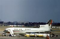 A4O-TX @ LHR - TriStar 193U of Gulf Air in the parking area of London Heathrow in the Summer of 1976. - by Peter Nicholson