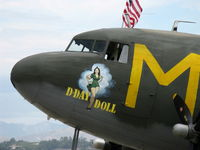 N45366 @ CMA - 1943 Douglas C-53D SKYTROOPER 'D-DAY DOLL', two Curtiss-Wright R-1820-56 1,200 Hp each, nose art - by Doug Robertson
