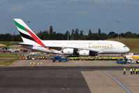 A6-EDE @ EGBB - To celebrate the 70th Aniversary of Birmingham Airport and the opening of the new International Terminal - Emirates replaced their normal B777 with an A380 Airbus on the EK39 Service - the first A380 aircraft to land at Birmingham International
