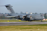 ZZ173 @ EGBB - RAF C-17A taxies out from Birmingham Elmdon apron for flight to Brize Norton