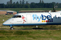 G-JECL @ EGBB - Flybe Dash 8 with logo of the late North Ireland Soccer player , George Best