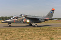 E38 @ EBBL - French Air Force Alpha Jet taxying to the active