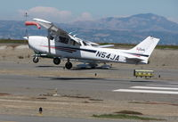 N54JA @ SQL - 1998 Cessna 172R near touchdown in stiff crosswind - by Steve Nation