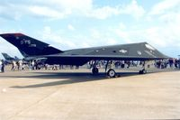 84-0809 @ MHZ - The F-117A Nighthawk of 9th Fighter Squadron/49th Fighter Wing in the static park at the 1996 Mildenhall Air Fete. - by Peter Nicholson