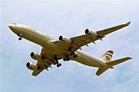 A6-EHA @ EGLL - Airbus A340-541 [748] (Etihad Airways) Home~G  23/06/2006. On approach 27R Heathrow. - by Ray Barber