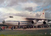 CCCP-82005 @ FAB - Antonov An-24 Condor of Aeroflot on display at the 1986 Farnborough Airshow. - by Peter Nicholson