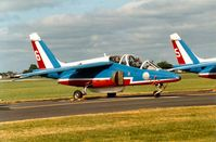 E107 @ MHZ - Alpha Jet number six of the Patrouille de France aerobatic display team which was present at the 1989 Mildenhall Air Fete. - by Peter Nicholson