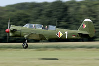 D-EYAK @ EBDT - This Yak-18 flies in the early colours of the East German AF. Later the compasses and hammer were added.