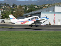N16497 @ SZP - 1973 Piper PA-28-235 CHEROKEE CHARGER, Lycoming O-540-B4B5 235 Hp, flaps landing rwy 04 - by Doug Robertson