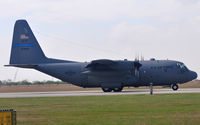 63-7845 @ KRND - C-130E Hercules landing 32R during Randolph Airshow 09. - by TorchBCT