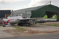 J-1167 @ EGTC - De Havilland Vampire FB6 (DH-100). Formerly Swiss Air Force J-1167, at Cranfield Airport, UK. - by Malcolm Clarke