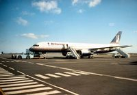 G-BYAN @ EGNT - Boeing 757-204 of Britannia Airways ready for boarding at Newcastle in March 1994. - by Peter Nicholson