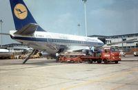 D-ABEV @ LHR - Boeing 737-130 of Lufthansa seen at Heathrow in March 1971. - by Peter Nicholson