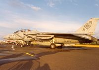 159458 @ EGQL - Another view of the VF-102 F-14A Tomcat in the static park at the 1991 Leuchars Airshow. - by Peter Nicholson