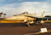 163461 @ EGQL - F/A-18C Hornet of Attack Squadron VFA-86 aboard USS America on display at the 1991 Leuchars Airshow. - by Peter Nicholson